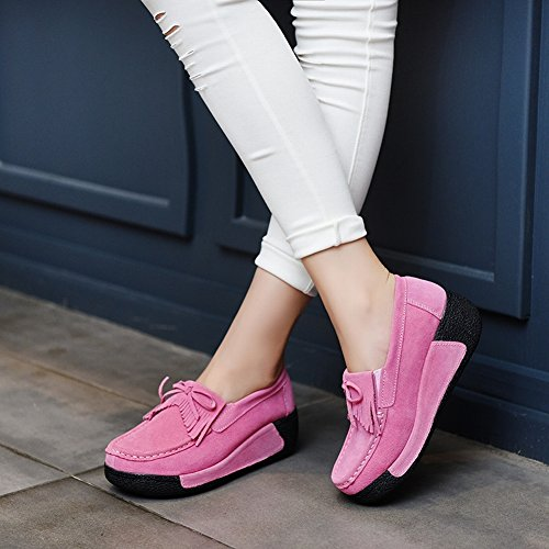 HOX Lace Shoes Casual Shoes round Shaking Shoes Shoes Pants Thick Base Slope with My Mother Shoes, pink, EUR38
