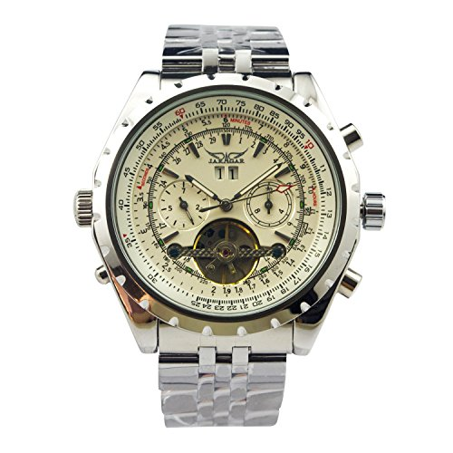 Jaragar Men's 6 Hands Chronograph Stainless Steel Automatic Mechanical Watch (Chronograph Mens Watch)