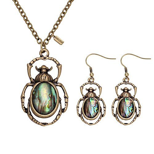 MANZHEN Antique Bronze Abalone Shell Bug Wildlife Necklace Scarab Earring Woodland Animal Jewelry Set
