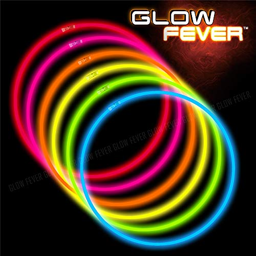 Glow Sticks Bulk 100ct 22'' Glow Necklaces with Connectors, for Party Festivals Raves Birthday Wedding, Multi]()