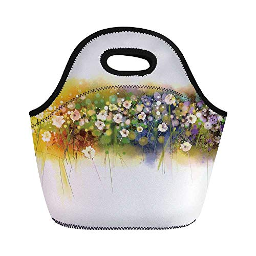 Watercolor Flower Home Decor Durable Lunch Bag,Vogue Display Wisteria Violets Wreath Fragrant Plants Herbs Artsy for School Office,11.0