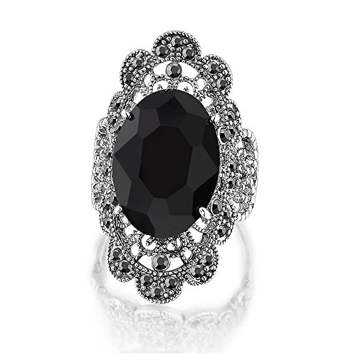 (Mytys Vintage Fashion Silver Jewelry Marcasite Oval Crystal Cocktail Statement Wide Chunky Rings for Women (10) )
