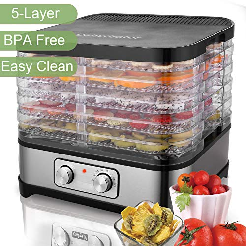 250W Food Dehydrator Machine - BPA Free Drying System With adjustable Height Nesting Tray - 120V Professional Electric Multi-Tier Food Preserver for Meat or Beef Fruit Vegetable Dryer