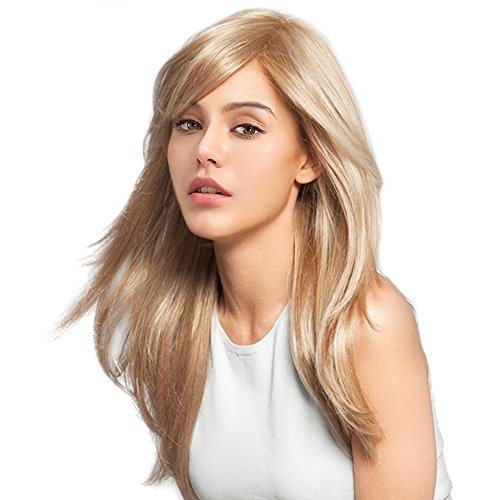 Women Brazilian Human Hair Blonde Color Long Natural Straight Side Bangs Blend Capless Daily& Wedding Wigs 24 Inches by Mufly (Image #5)