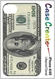 New Style 100 Dollar Bill American USA Currency Decorative Sticker Decal for your iPhone 4 4S Lifeproof Case