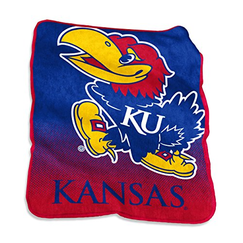 Logo Brands NCAA Kansas Jayhawks Unisex Raschel Throwraschel Throw, Royal, N/A