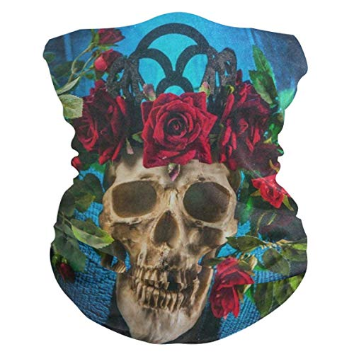 Human Sugar Skull Flower Floral Headband Womens Bandana Mens Balaclava,Neck Warmer,Face Mask,Sweatband Hatliner