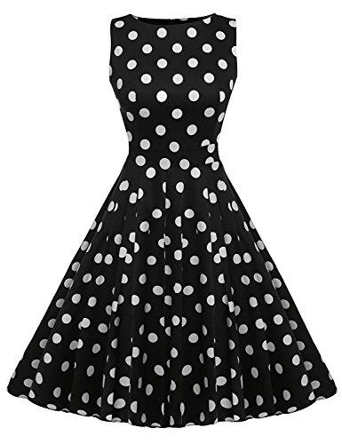 (Vintage Party Dress Sleeveless Polka Dot 1950s WD 02 (white dot, X-Large))