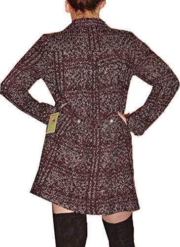 Manteau Noir Veste Femme Longue Jacquard Style avw8fq6