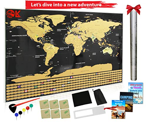 Large Scratch Off Map of The World Poster | Large 33 x 23| US States, Country Flags | Track Your Adventures | Cool Gift for Travelers | Premium Travel Map - International