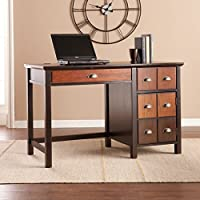 Southern Enterprises Hendrik Apothecary Desk 47 Wide, Espresso and Mutli Tonal Wood Finish with Bronze Accents