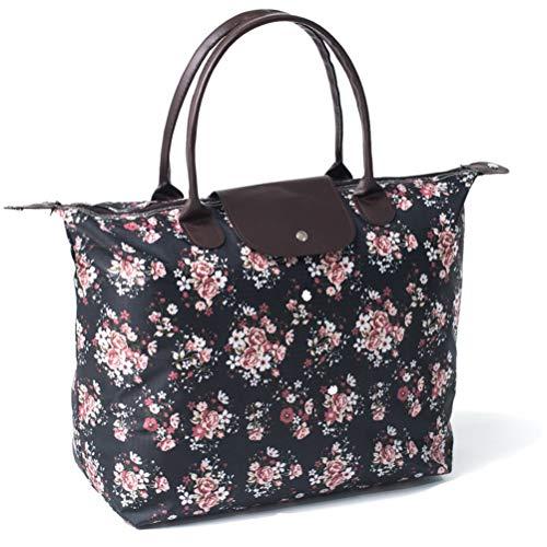 BeAllure Nylon Tote Bag - Premium PU Leather Top Handle Waterproof Large Shoulder Handbag for ()