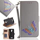 Asus ZenFone 3 Max ZC520TL Case, UNEXTATI Butterfly Embossing Design PU Leather Flip Wallet Cover Case with Card Holder for Asus ZenFone 3 Max ZC520TL