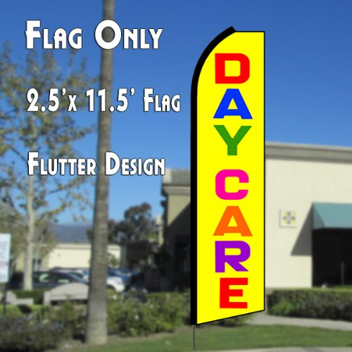 DAY CARE (Yellow/Multi) Flutter Polyknit Feather Flag (11.5 x 2.5 feet) by Flagforest