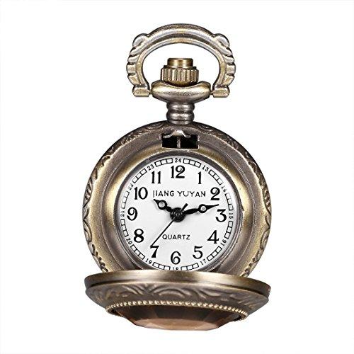 Rabbit Header - Shengjuanfeng Round Dial Bronze Pattern Retro Peter Rabbit Header Wishing Bottle Pearls Quartz Pocket Watch with Alloy Chain