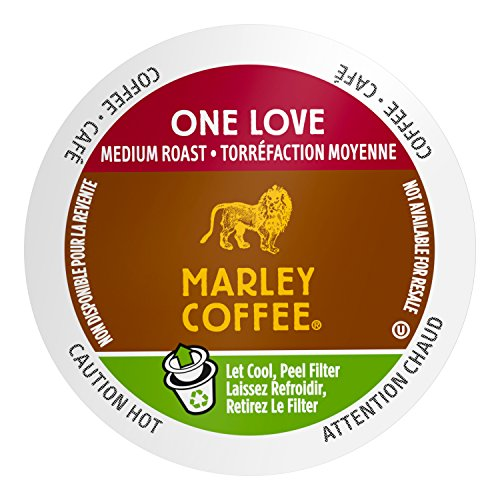 Marley Coffee, One Love, 100% Organic Ethiopia Yirgacheffe, Medium Roast, 24 Single Serve RealCups (Single Organic)