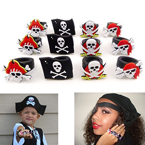 [Dazzling Toys Rubber Pirate Rings (2 Dozen) - Use for Pirate Night on Cruise, for Halloween Costume Dress up Party, for Easter Egg] (Varys Halloween Costume)