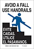 "Brady 124026 Bilingual Sign, Legend ""Avoid A Fall Use Handrails/Evite Caidas. Utilice El Pasamanos."", 10"" Height, 7"" Weight, Black and Blue on White offers"