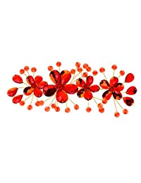 Red Bridal Wedding Handmade Plum Blossom Hairpins Hair Clips Headpiece