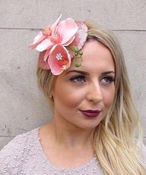 Starcrossed Boutique Rose Gold Light Pink Orchid Flower Sequin Fascinator  Teardrop Hair Clip Hat 2975  Amazon.co.uk  Beauty 18e1e98189e