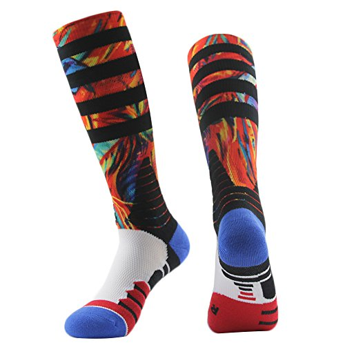 Men's Handball Socks, J'colour Boy's Long Tube Colorful Knee High Team Sports Bubby Boyfriend Pack socks 1 Pair,Red (Colorful Socks Boys)