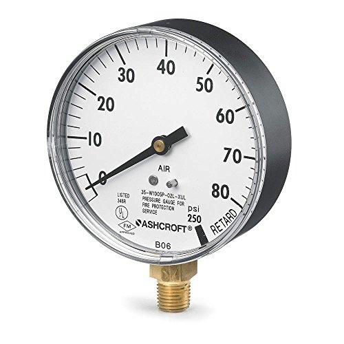 Pressure Gauge, 0 to 80 psi, 3-1/2In, 1/4In