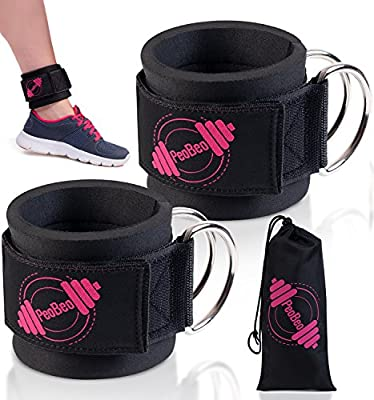 Ankle Straps for Cable Machines and Resistance Bands for Men and Women- Neoprene Padded Ankle Cuffs for Weight Lifting Leg Gym Workout by PeoBeo Fitness