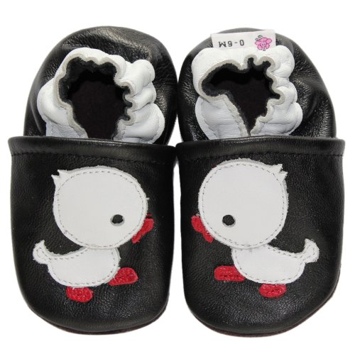 Kidzuu Mjuk Sula Baby Spädbarn Läder Spjälsäng Skor Vit Anka
