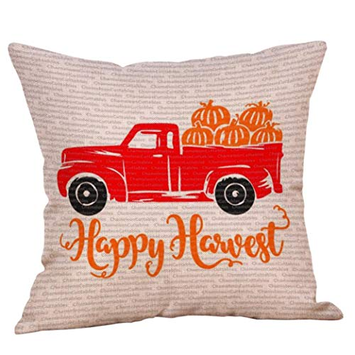 Halloween Decorations Pillows Case Pumpkin on Truck Pillowcases Thanksgiving Cushion Cover with Zipper 18 x 18 inch