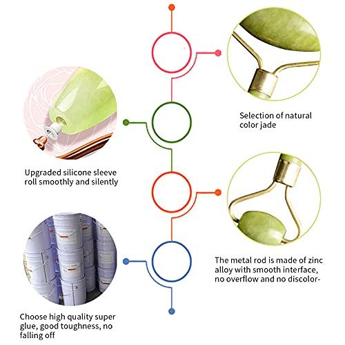 Gua Sha Massage Tool Nature Jade Stone Guasha Massage Tool Beauty Accessories for Women Tool (Green-8)