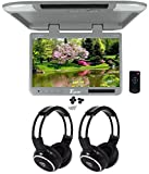 Tview T257IR-GR 25'' Gray Flip Down Wide Screen Car Monitor +2 Wireless Headsets