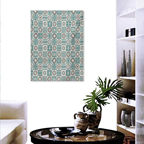 Mannwarehouse Afghan Decorate Stickers for Wall Checkered Squares with Ethnic Motifs Rhombuses Circles and Stripes Wall Art Stickers 16
