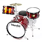 Mendini by Cecilio 16 inch 3-Piece Kids / Junior Drum Set with Adjustable Throne, Cymbal, Pedal & Drumsticks, Metallic Bright Red, MJDS-3-BR