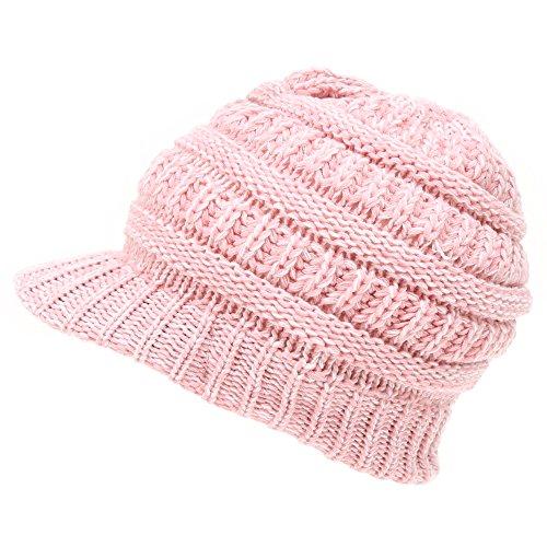 92f047382b1fa MIRMARU Women s Winter Ribbed Layer knitted Brim Visor Beanie Hat.(Black)  at Amazon Women s Clothing store