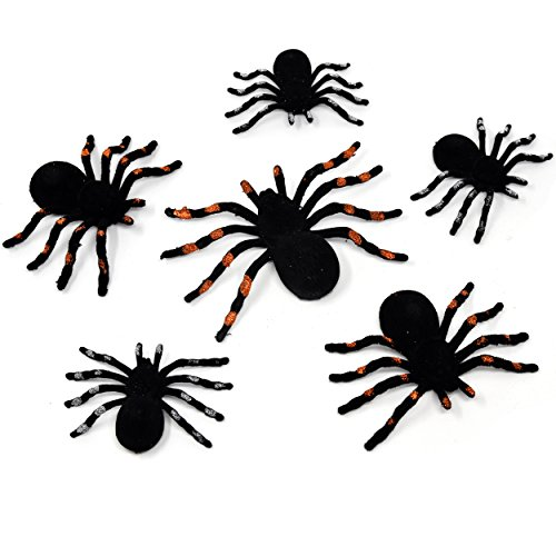 Fake Gas Masks (Black Halloween Spiders Pack of 6 In 3 Sizes Party Favors Decor)