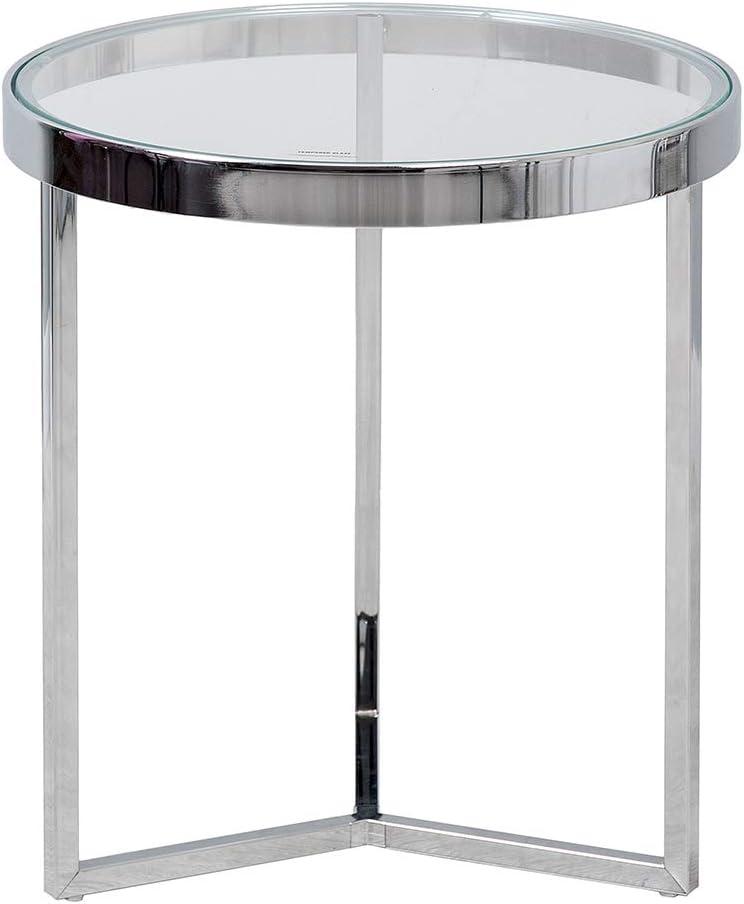 Tempered Glass Mesa, Acero Inoxidable, Plata, 42.5x42.5x46 cm: Amazon.es: Hogar
