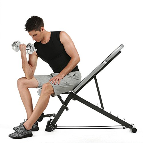 PEATAO Adjustable Utility Weight Bench, Dismountable Folding Bench Flat/Incline/Decline for Gym Office Home by PEATAO