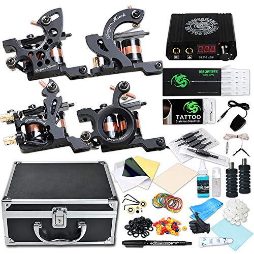 4 Tattoo Machine Guns - Dragonhawk Complete Tattoo Kit 4 Craft Machines Gun Tattoo Power Supply Needles Foot Pedal Grips with Case (Coils Craft Machines Kit)