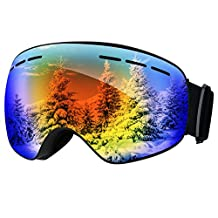 Ski Goggles,Patec Snowboard Skate Goggles,Over Glasses Ski Goggles for Men,Women & Youth Snowmobile Skiing Skating with Anti-fog Big Spherical Double Lens,100% UV400 Protection,Interchangeable Spherical Dual Lens,Upgraded Ventilation System -Blue
