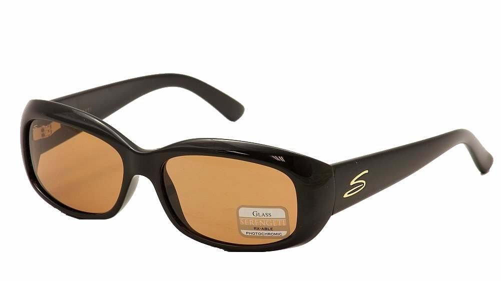 Serengeti RX Eyewear Bianca Sunglasses (Shiny Black, Polar 555 NM) by Serengeti