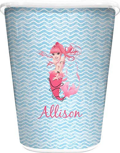 RNK Shops Mermaid Waste Basket - Single Sided (White) (Personalized)