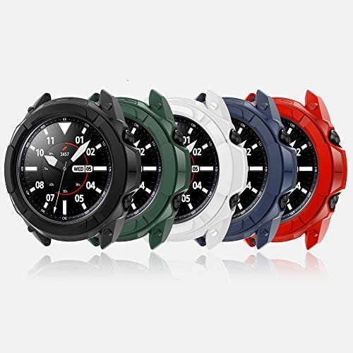 Compatible with Samsung Galaxy Watch 3 Case 45mm, Full Edge Case with Bezel Ring Protector Cover Case Frame for Galaxy Watch 3 SM-R840 (Black&White&Red&Blue&Green, Watch3 45mm)