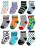 Cubaco 12 Pairs Non Skid Anti Slip Cotton Crew Socks With Grips For Baby Toddler Boys Girls