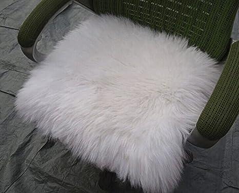 Housse de coussin de si/ège en v/éritable peau de mouton laine longue pour la voiture coussin avec sangles 45,7/x 45,7/cm