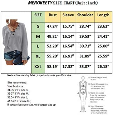 MEROKEETY Women Long Sleeve Waffle Knit Pullover Tops V Neck Button Shirts Blouses