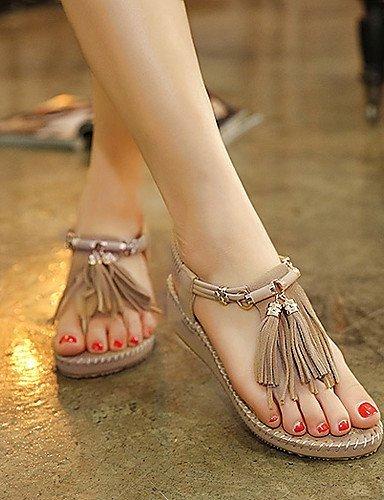 ShangYi Women's Shoes Leatherette Wedge Heel Wedges Slingback Sandals Dress Purple / Almond Almond LnNRcS5