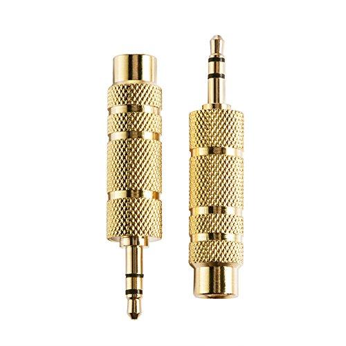 eBoot Headphone Adapter Plug 3.5 mm Socket to 6.35 mm (1/ 4 inch) Male to Female Stereo Audio Jack Headphone Adaptor, 2 Pack