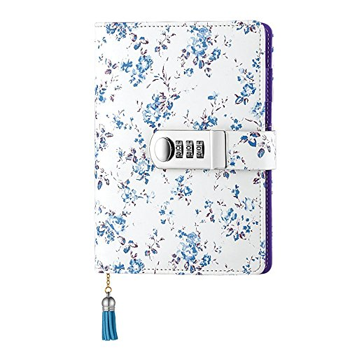 k with Password Personal Diary With Lock PU Leather Multi Color Combination Lock Journal A6 Refillable Leather Journal (Blue) (Combination Notebook Lock)