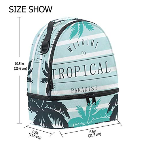 Palm Tropical School Cooler Adjustable Shoulder with Strap Box for Pincnic FOLPPLY Bag Insulated Print Lunch Tote 45qBq