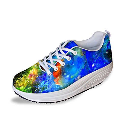 Shoes 6 Galaxy Platform Swing Pattern Women's Fashion Walking FOR Fitness Strength Sneaker U DESIGNS qOxvH